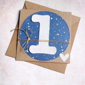 na roczek - gwiazdy - kartka handmade
