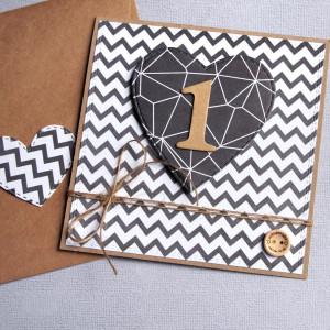 na roczek - kartka handmade black & white