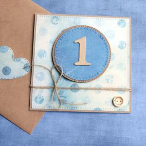 na roczek - kartka handmade dla chłopca