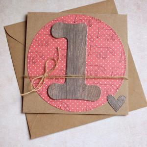 na roczek -  liski - kartka handmade