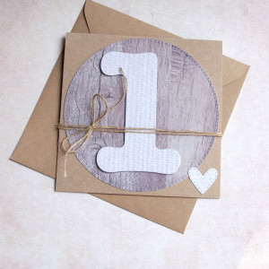 na roczek - natural - kartka handmade