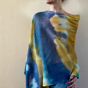 Narzutka lniana blue&yellow