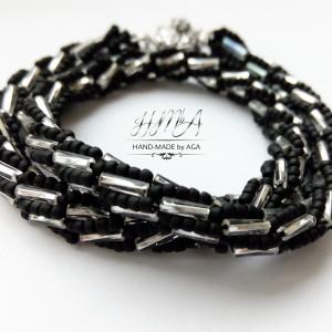 Naszyjnik - turecki sznur czarno-srebrny