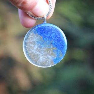 Naszyjnik Dmuchawiec okrągły niebieski