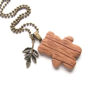 Naszyjnik Drewniany miś #