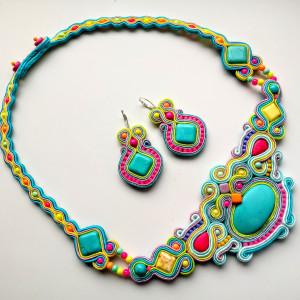 Naszyjnik i kolczyki sutasz Pastel&Neon