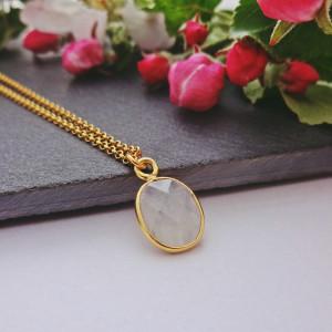 Naszyjnik Kamień Księżycowy Srebro 925 Pozłacane