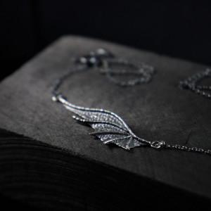 Naszyjnik skrzydło smoka ze srebra