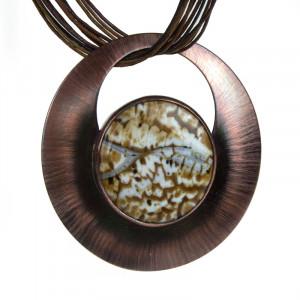 Naszyjnik z agatem w kolorze kawy c412