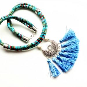 Naszyjnik z chwostami Masai Blue