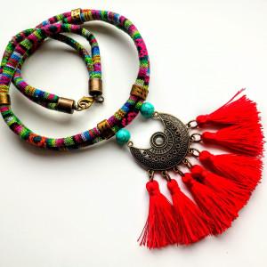 Naszyjnik z chwostami Masai Red