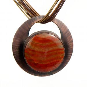 Naszyjnik z dużym pomarańczowym agatem c971
