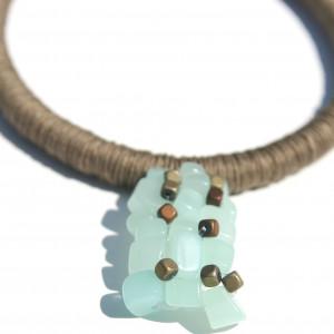 Naszyjnik z lnu i kamieni naturalnych Hatsuki