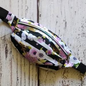 Nerka torebka na biodro w fioletowe kwiaty