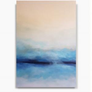 Niebieska abstrakcja z bielą -obraz akrylowy