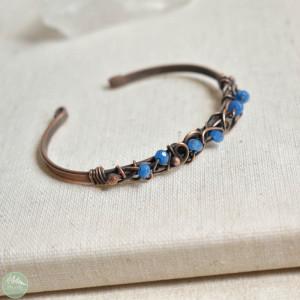 Niebieska elegancja - bransoletka miedziana