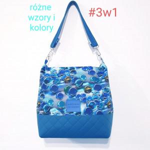 Niebieska torebka wodoodporna w błękitne kulki