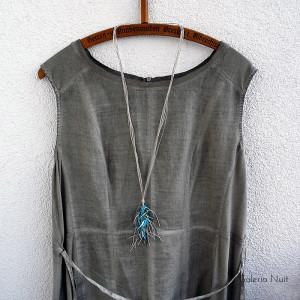 Niebieski - długi naszyjnik lniany
