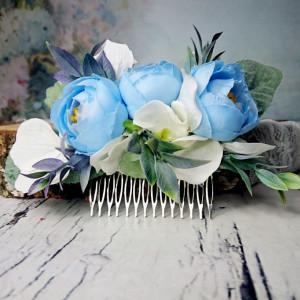 Niebieski grzebyk ślubny z zielenią