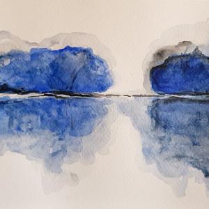 Niebieski pejzaż-akwarela