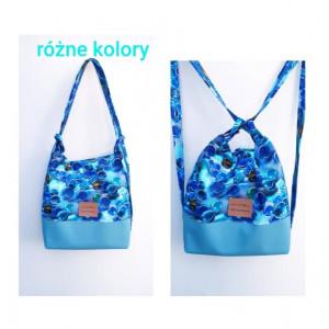 Niebieski torebko plecak w błękitne kulki