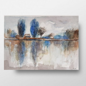 Niebieskie drzewa -akwarela formatu A5