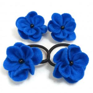 Niebieskie gumki kwiatki spinki dla dziewczynki