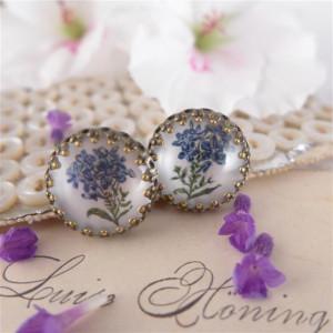 Niebieskie kwiatki, Ręcznie malowane kolczyki