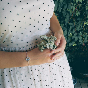 Niebieskie róże bransoletka srebrna 925