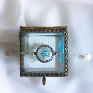 Niebieskie róże bransoletka szkło 1,4cm