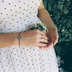 Niebieskie róże bransoletka szkło  , okragłe