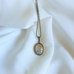 Niebieskie róże, mały owal, szkło malowane