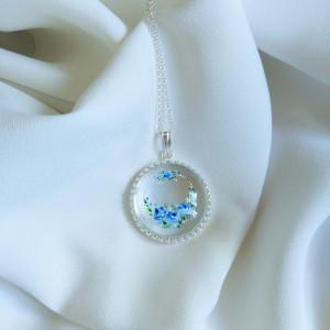 Niebieskie róże, srebrny, szklany naszyjnik