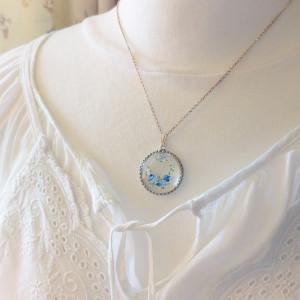 Niebieskie róże, srebrny, szkło ręcznie malowane