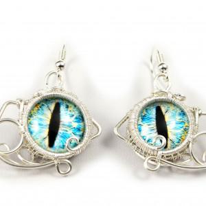 Niebieskie Smocze oko, srebrne kolczyki handmade
