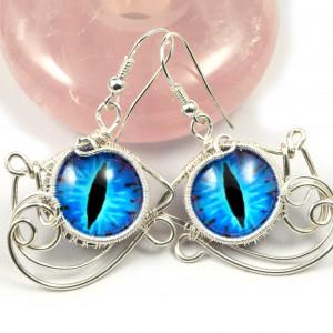 Niebieskie Smocze oko, srebrne kolczyki oczy