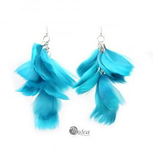 Niebieskie/turkus pióra - długie kolczyki, srebro
