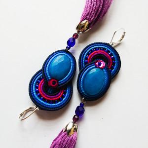 Niebiesko-fioletowe kolczyki z jadeitami