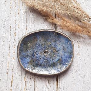 Niebiesko-srebrna mydelniczka ceramiczna handmade