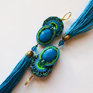 Niebiesko-zielone kolczyki z chwostami