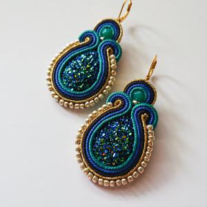 Niebiesko-złote kolczyki z dodatkiem turkusu