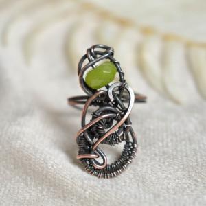 Nieskończona zieleń - pierścionek z jadeitem