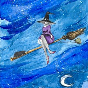 """NUDA. TAKI DŁUGI LOT..."" akwarela, na Halloween"