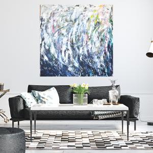 Obraz abstrakcja Biel i granat 100x100