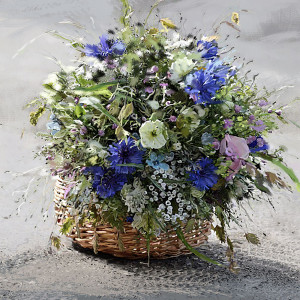 Obraz do salonu Koszyk z kwiatami