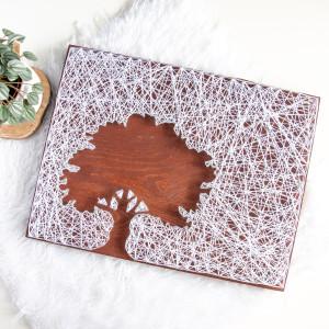 Obraz drewniany Drzewo Dąb Rustykalny String Art