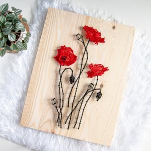Obraz drewniany Maki Polne kwiaty Wieś String Art