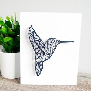 Obraz na ścianę Koliber Ptak String Art Biały