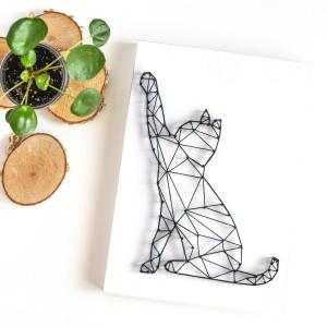 Obraz na ścianę Kot geometryczny String Art Biały