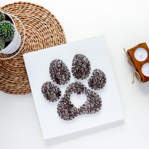 Obraz na ścianę Łapa Pupila Kot Pies String Art